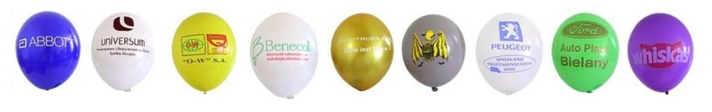 Nadruki logo na balonach.