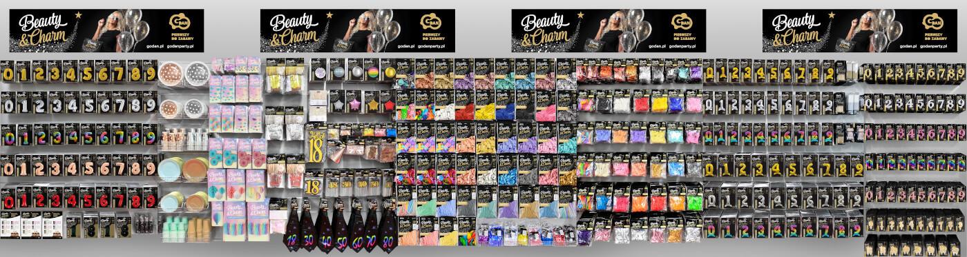 Ścianka produktów Beauty&Charm do sklepów - GoDan